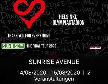 Konzerttickets für die Abschiedstournee von Sunrise Avenue