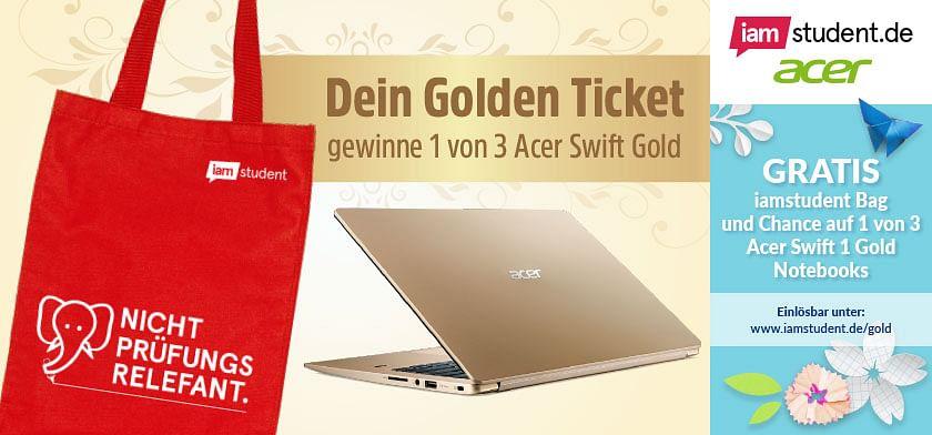 GRATIS iamstudent Bag und Chance auf 1 von 3 Acer Swift 1 Gold Notebooks