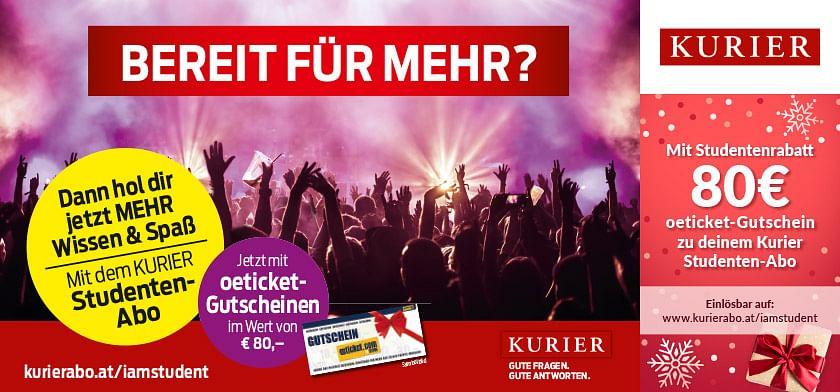 Mit Studentenrabatt 80€ oeticket-Gutschein zu deinem Kurier Studenten-Abo