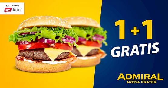 Mitfiebern lässt sich am besten mit vollem Magen! Mit unserem ADMIRAL Arena Prater Studentenrabatt bekommst du in Europas größter Sportsbar zu deinem Burger mit Wedges und Dip einen zweiten Burger gratis dazu!