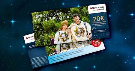 Die Bank Austria bringts! Zu deiner gratis StudentenKonto-Eröffung bekommst du mit unserem Studentenrabatt aus dem aktuellen Gutscheinheft auch noch einen 70€ Willkommensbonus!