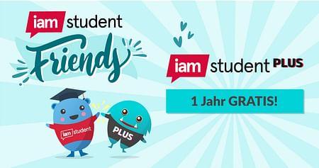 Mit iamstudent Friends gemeinsam mehr vom Studium! Lade 3 FreundInnen zu iamstudent ein und erhalte1 Jahr lang gratis Zugang zu allen Vorteilen von iamstudent PLUS!