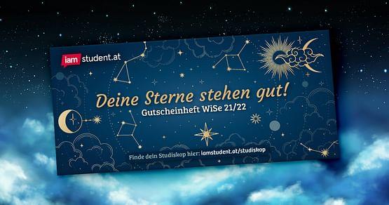 Deine Sterne stehen gut, greif nach ihnen! Lade dir jetzt unser aktuelles Gutscheinheft herunter, und entdecke einen kosmisch-guten Rabatteschauer am Studi-Horizont. Dieses Mal unter anderem dabei: mjam, Thalia, Deichmann, Gigasport und Masterprint.